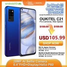 "OUKITEL C21 Helio P60 Quad Camera 20MP Selfie 6.4"" FHD+ Hole Punch Screen 4000mAh Octa Core 4+64GB Phone 4G Celular Smartphone"