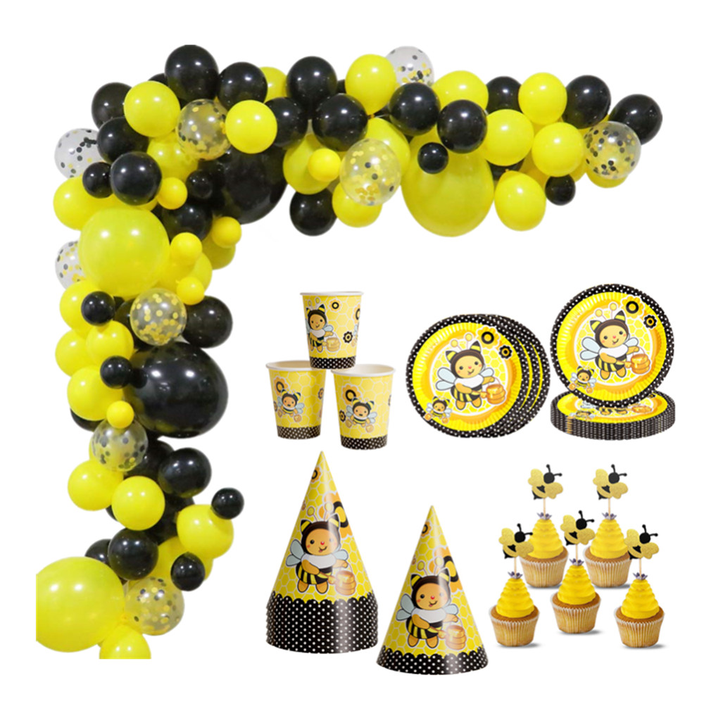 Bumble <font><b>Bee</b></font> Theme <font><b>Party</b></font> DIY <font><b>Supplies</b></font> Kids Birthday <font><b>Party</b></font> Decorations Balloon Garland Disposable Tableware set Baby Shower <font><b>Supply</b></font> image
