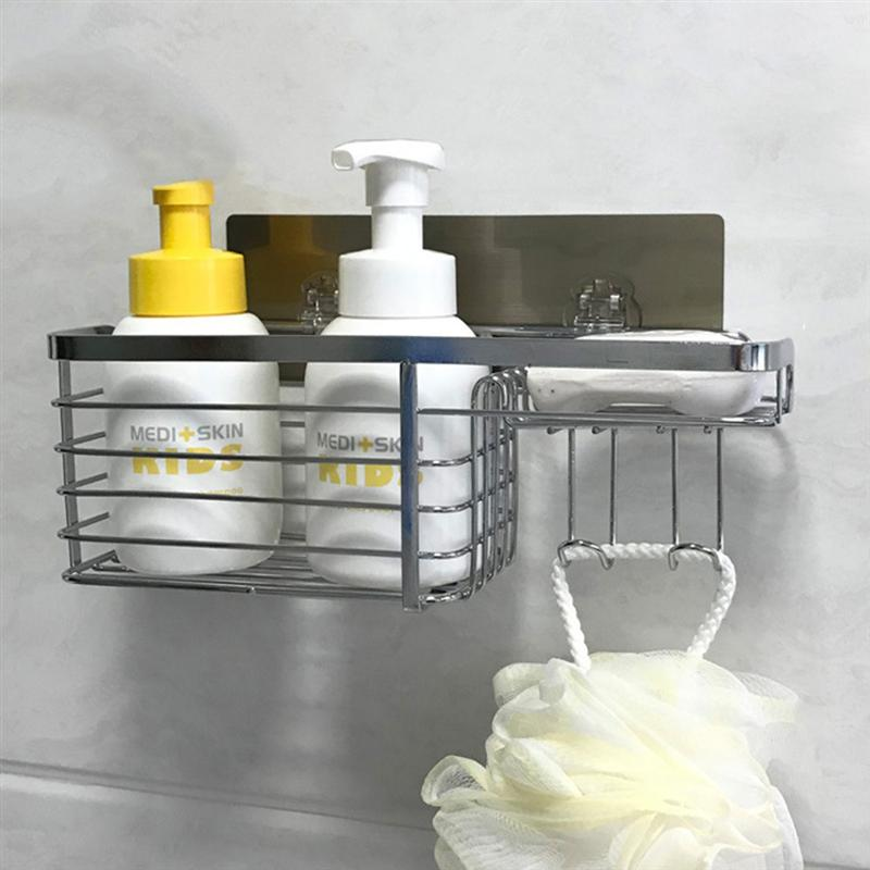 Image 4 - Adhesive Bathroom Shelf Organizer Shower Caddy Kitchen Storage Rack Wall Mounted No Drilling Stainless Steel Wire Basket HookBathroom Shelves   -