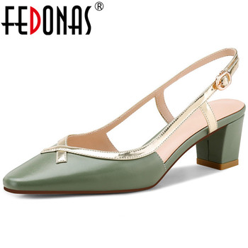 FEDONAS Sweet Mixed Colors Single Women Sandals Genuine Leather Thin Heels Pumps 2020 Spring Summer Party Working Shoes Woman