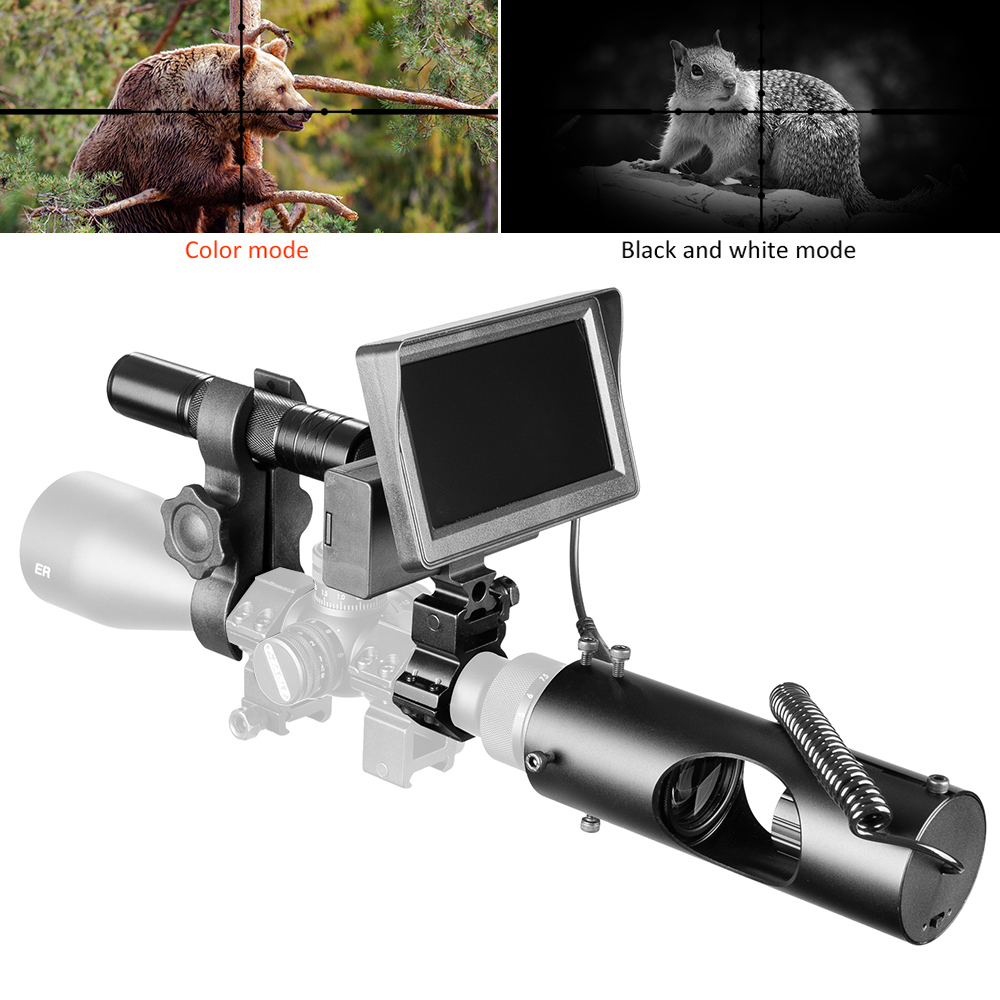 Fire Wolf Night Vision Riflescope Hunting Outdoor Scopes OpticsSight Tactical Day Night Mode Digital Infrared Monitor Fill light