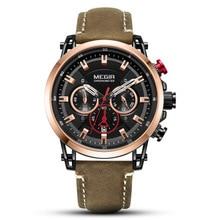 MEGIR Men Watch Top Brand Luxury Gold Chronograph Wristwatch Date Military Sport Leather Band Male Water Resistant Clock все цены
