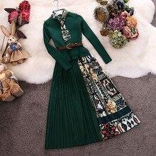 Amolapha женское винтажное ДРАПИРОВАННОЕ трикотажное платье в стиле пэчворк трикотажное длинный рукав ремень платье Vestidos