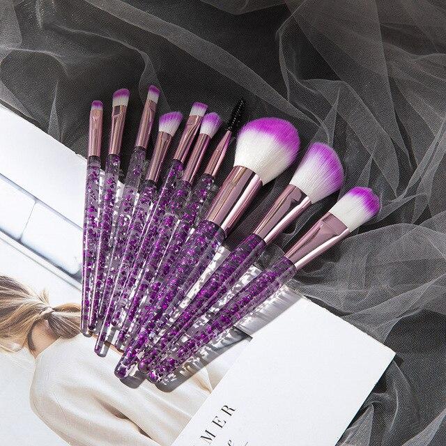 10PCS Professional makeup brush Diamond Crystal brush set Acrylic handle Foundation blush brush powder mixed eye shadow tool kit 1