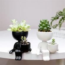 Kreatywny humanoidalne ceramiczna doniczka na kwiaty wazon donica na rośliny wyroby ceramiczne sukulenty dekoracja domowa z wazonem