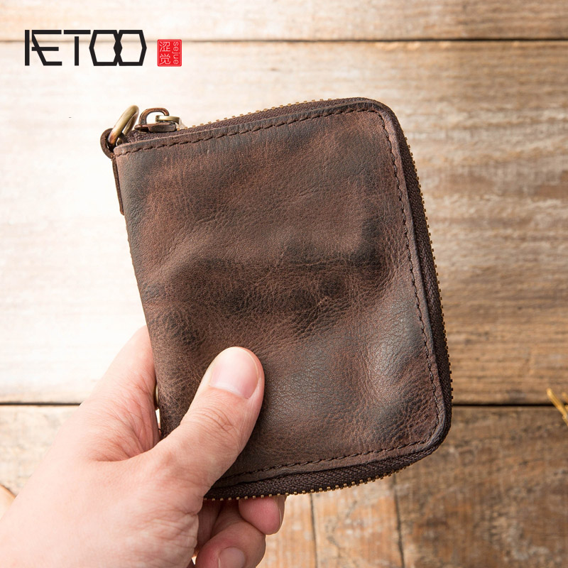 AETOO Leather Made Old Short Wallets, Head-layer Edwin Leather Retro Zippered Wallets, Stylish Young Men And Women Folds Wallets
