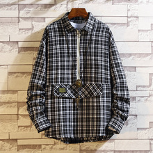 #0184 Hip Hop Shirts For Men With Zipper Casual Japanese Streetwear Plaid Shirt Long Sleeves Big Size Loose Black Red Yellow