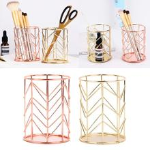 Pen Holder For Children Rose Gold Home Desk Stationery Pen Pencil Pot Holder Office School Container Organizer Storage Case