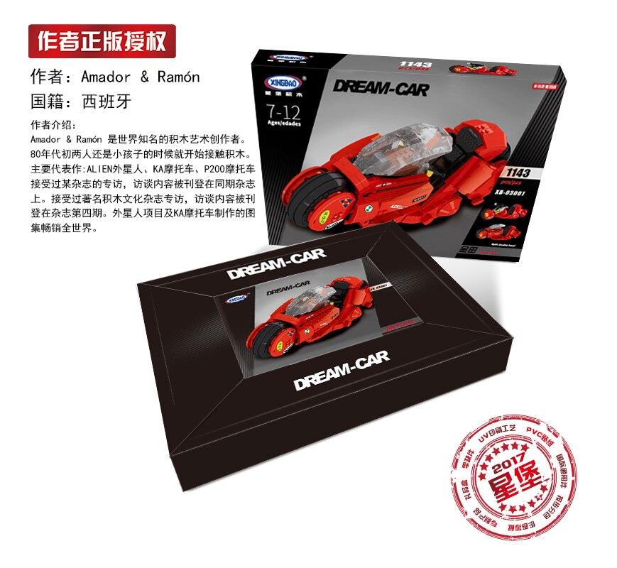 Купить с кэшбэком XingBao 03001 Creative MOC Technic Series The Citizen Akira Moto Set Children Building Blocks Bricks Boy Toys Model Kit Gifts