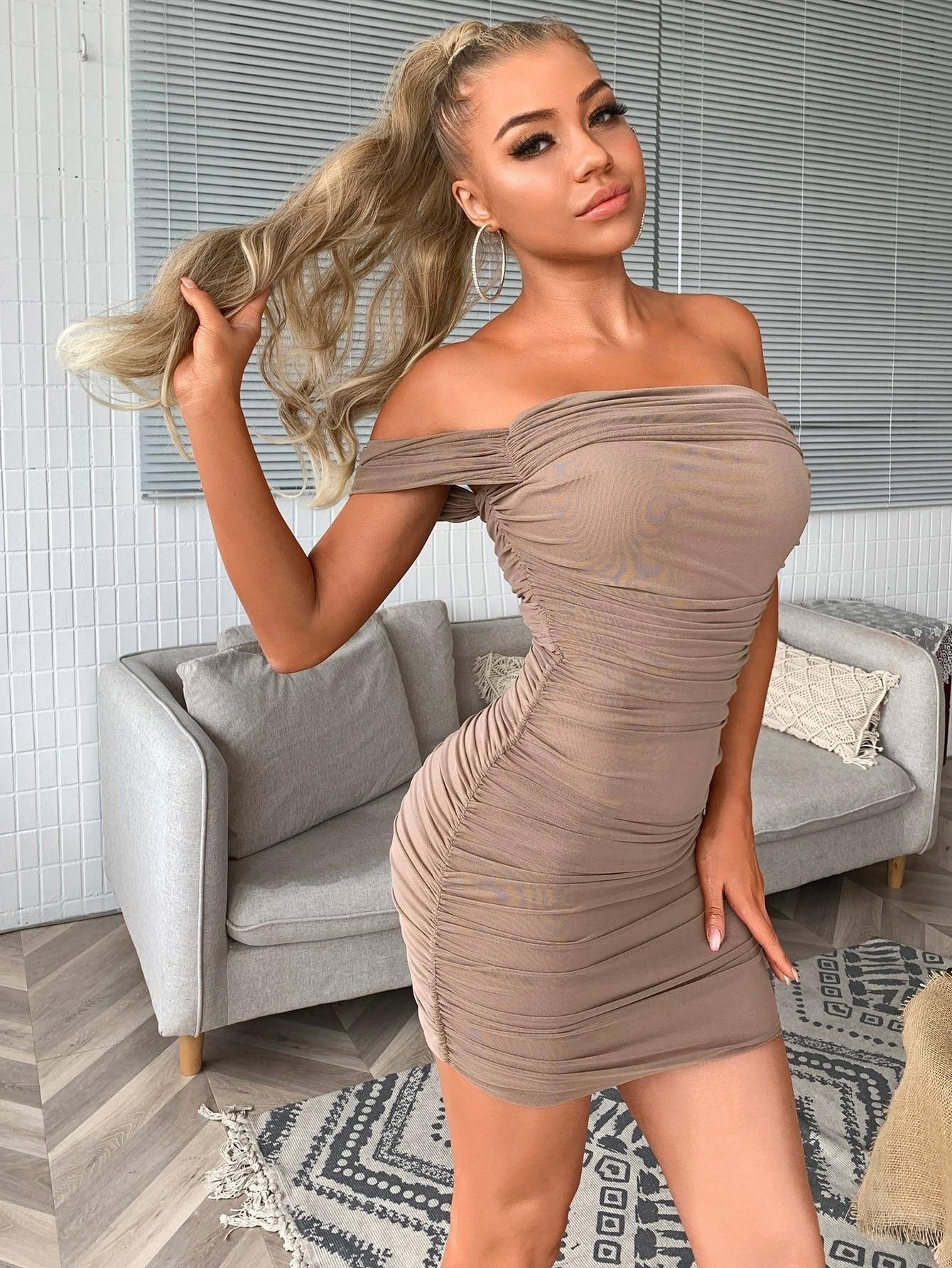 Joyfunear Off Shoulder Ruched Dress