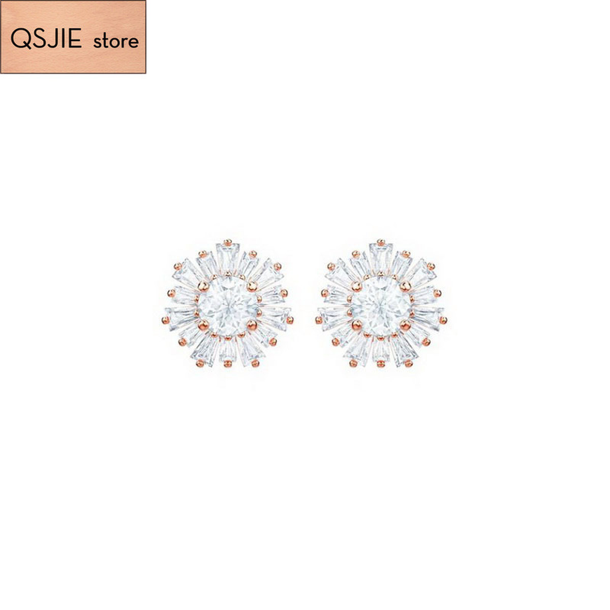 QSJIE High Quality Swa Original Jewelry Chamomile Earrings Glamorous fashion jewelry