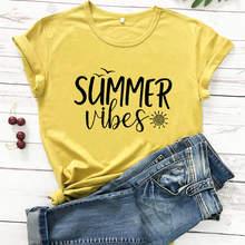 Lato Vibes Sunshine koszula 2020 New Arrival lato 100% bawełna śmieszne T Shirt wakacje koszula koszule plażowe tryb Vacay topy