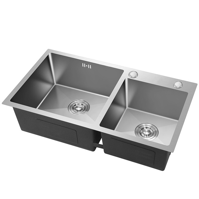Кухонная раковина из нержавеющей стали, двойная чаша, Матовая серебристая, над счетчиком, раковина, толщина 3 мм