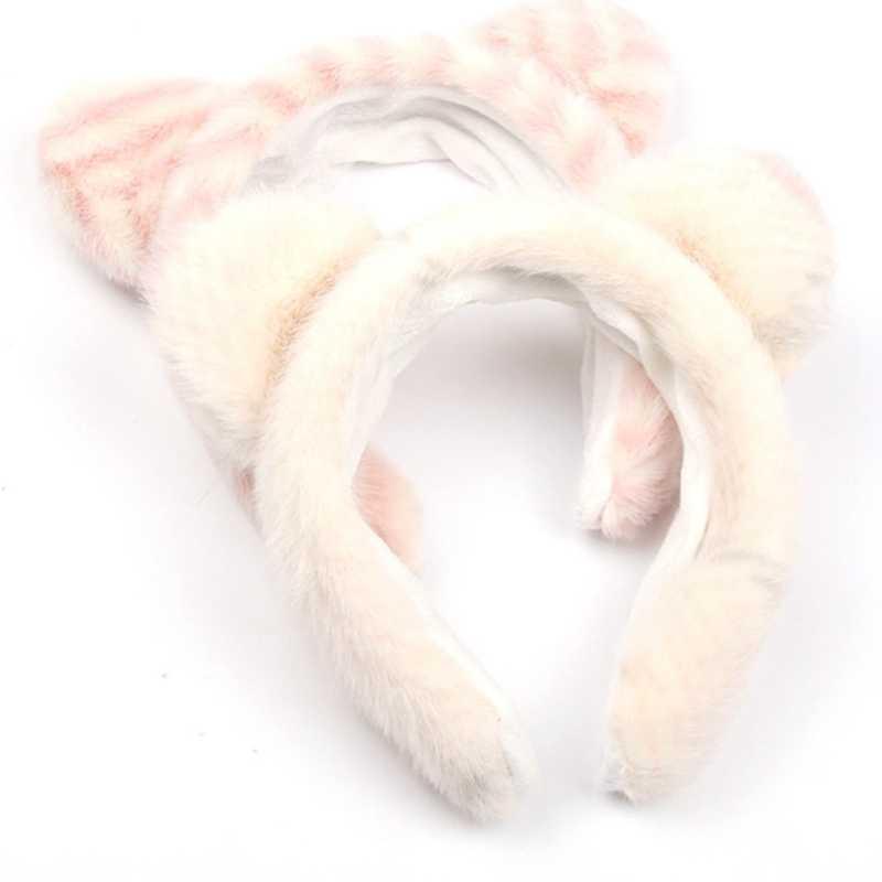 7 renk taklit kürk peluş kafa bandı kalın kalın sevimli hayvan kulaklar kürklü saç bandı sıcak geniş kafa bandı kadın saç aksesuarları