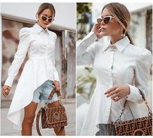Women High Quality Early Spring New Shirt Dress Lapel Single Row Multi-button Non-hem Regular Dress Slim White Dress Femme(China)