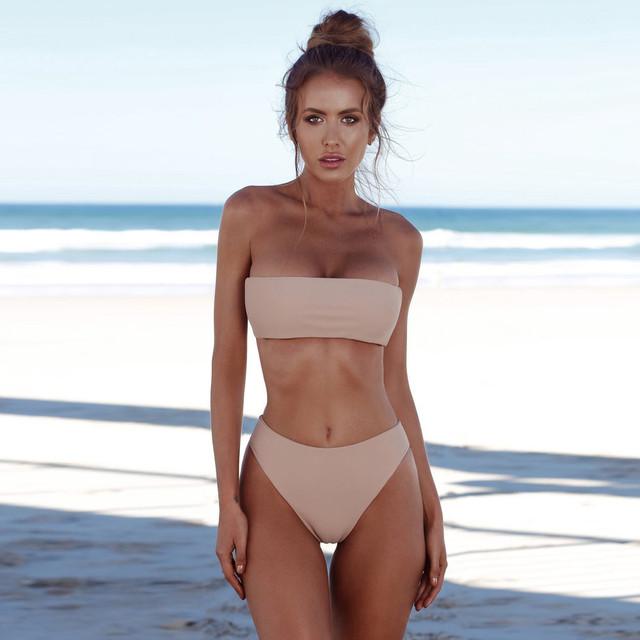 Bikini 2020 kobiety Bandeau bandaż Bikini Set Push-Up brazylijskie stroje kąpielowe kostiumy kąpielowe strój kąpielowy biquini vestido de baño купаликк tanie tanio ISHOWTIENDA CN (pochodzenie) Stałe Osób w wieku 18-35 lat Wysokiej talii Drut bezpłatne Bikinis Set WOMEN Pasuje prawda na wymiar weź swój normalny rozmiar