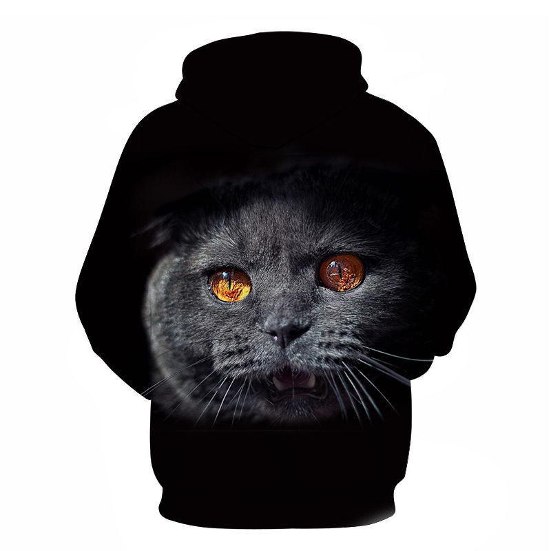 Women's Two Cat Sweatshirts Long Sleeve 3D Hoodies Sweatshirt Pullover Tops Blouse Pullover Hoodie Poleron mujer Confidante Tops 90