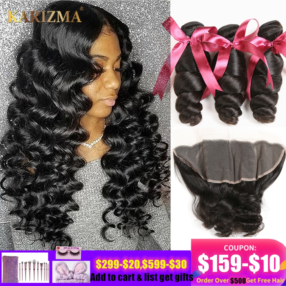 Karizma Loose Wave Bundles With Frontal 4 Pcs Human Hair Weaves Peruvian Hair 3 Bundles With Frontal 13X4 Lace Closure Non Remy