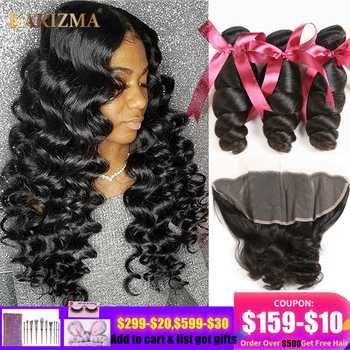 Karizma Loose Wave Bundles With Frontal 4 Pcs Human Hair Weaves Peruvian Hair 3 Bundles With Frontal 13X4 Lace Closure Non Remy - DISCOUNT ITEM  51% OFF All Category