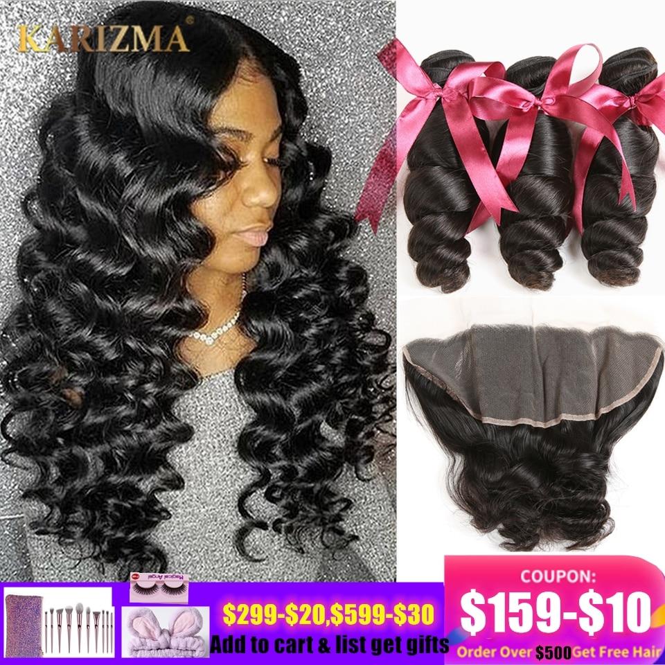 Karizma Loose Wave Human Hair Bundles With Frontal 4 Pcs Brazilian Hair Weave 3 Bundles With Frontal 13X4 Lace Closure Non Remy