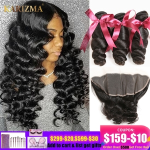 Image 1 - Karizma Loose Wave Human Hair Bundles With Frontal 4 Pcs Brazilian Hair Weave 3 Bundles With Frontal 13X4 Lace Closure Non Remy