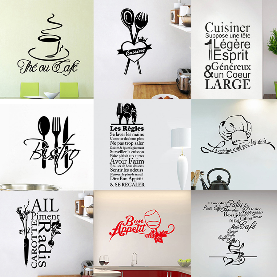 Un Ou Une Toilette Wc wall stickers french stickers muraux cuisine citation chef cafe love vinyl  wall decals home decor art wallpaper kitchen posters