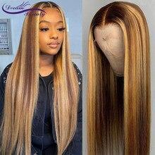 Mel em linha reta loira ombre cor destaque 180% frente do laço perucas de cabelo humano remy brasileiro pré arrancado peruca do laço sonho beleza