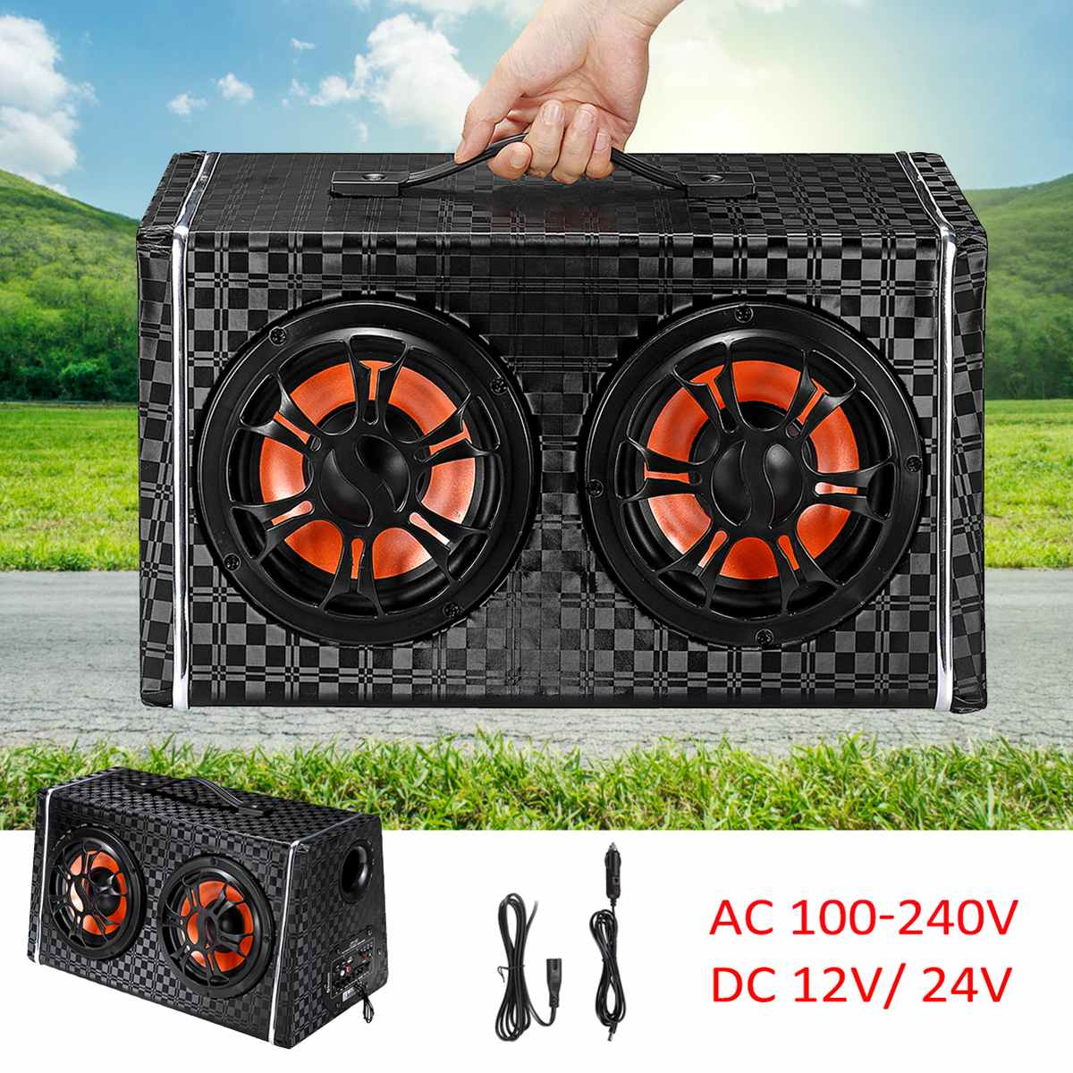 6 inch 600W Under-Seat Car <font><b>Subwoofer</b></font> Wireless bluetooth Speaker Car Stereo Amplifier Car Audio Power FM Radio Player Dual Bass image