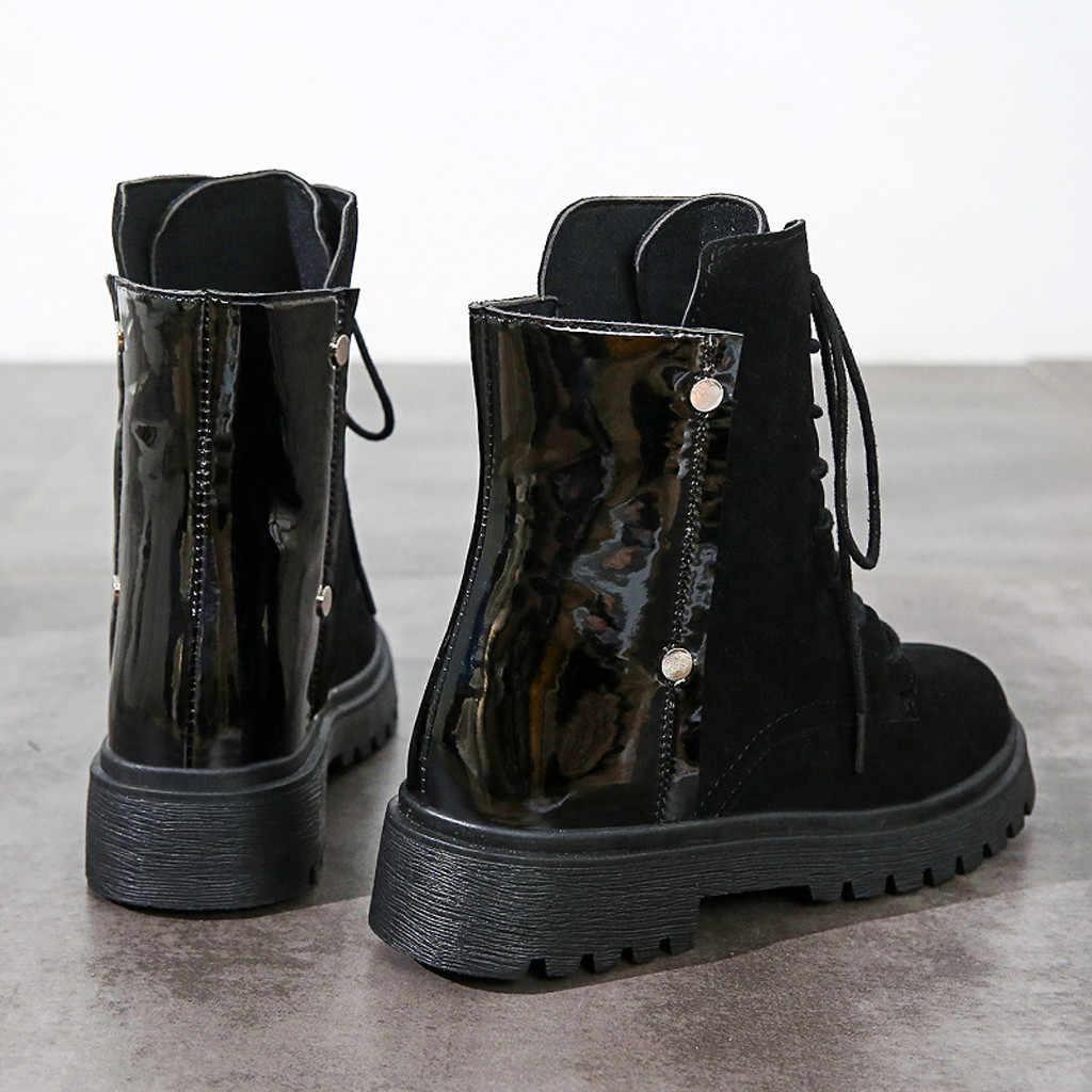 Kadın Martin çizmeler kış kayış patchwork kar Bootie Lace Up sıcak tutmak yürüyüş kar botları yarım çizmeler kadınlar için günlük ayakkabılar