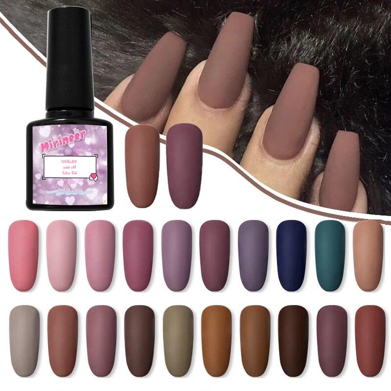 Mirineer матовый лаки для ногтей Цвет УФ-гель для ногтей серый серии! Полупостоянная био-Гели Soak Off Лаки DIY Краски