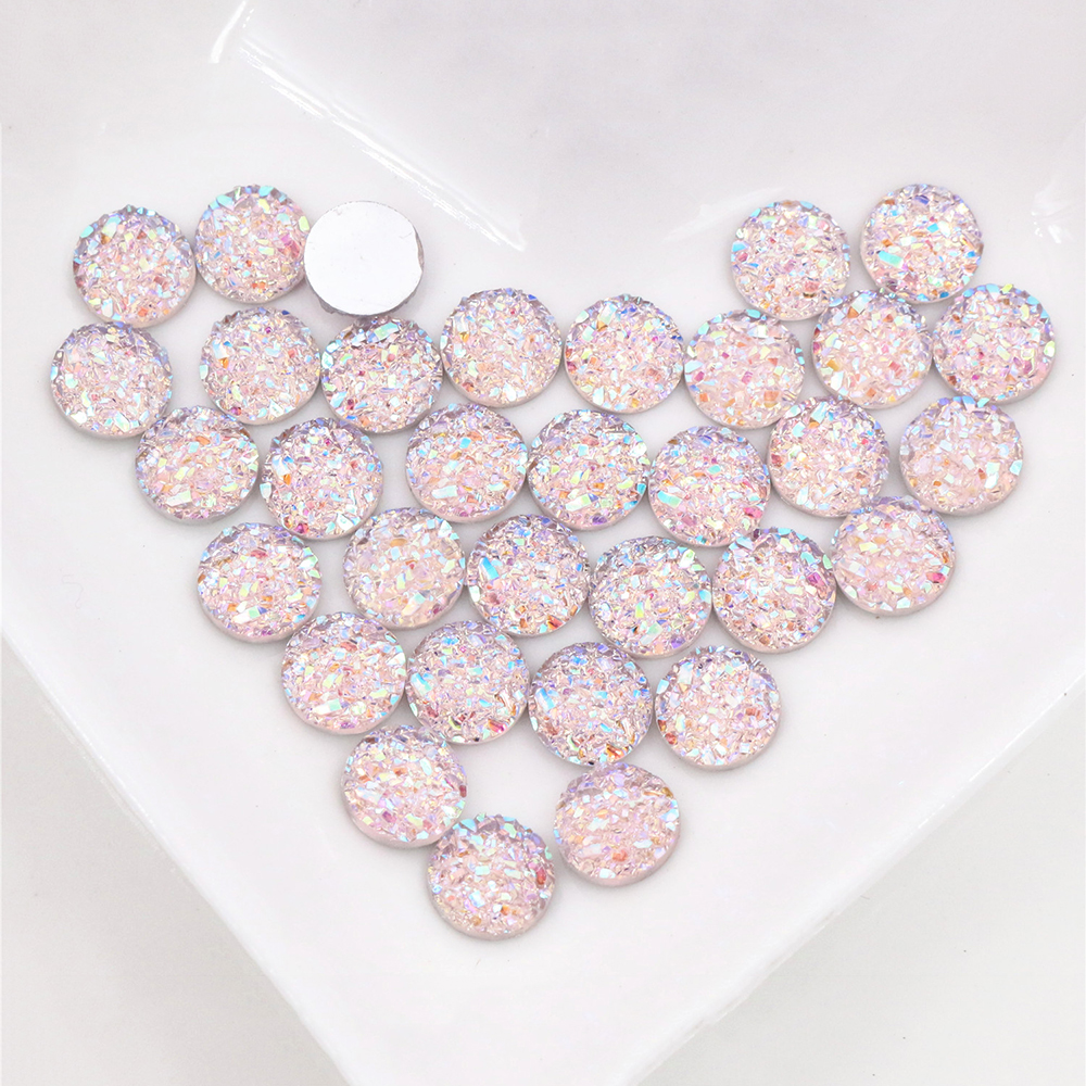 New Fashion 8mm 40pcs Pink AB Colors Natural Ore Style Flat Back Resin Cabochons For Bracelet Earrings Accessories-O5-13