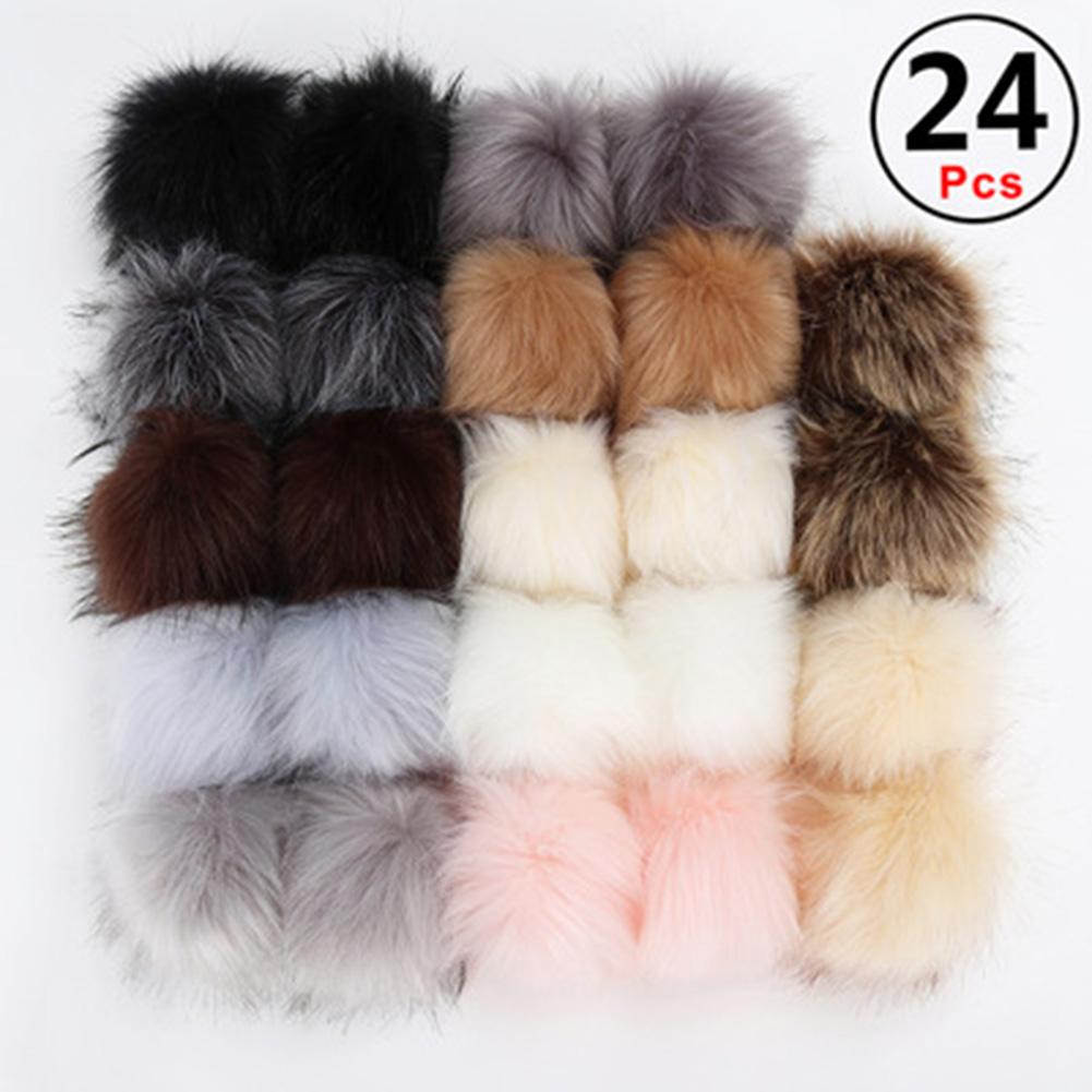 24PCS/Set Faux Fur Pompom Ball Hairball Hat Ball Pom Pom DIY Artificial Wool Ball For Cap Shoes Bag Accessories With Buckle