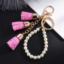 New Candy Color Gold Sequins Tassel Keychain Bright Powder Pearl Chain Pendant Gifts for Women Accessories key Ring