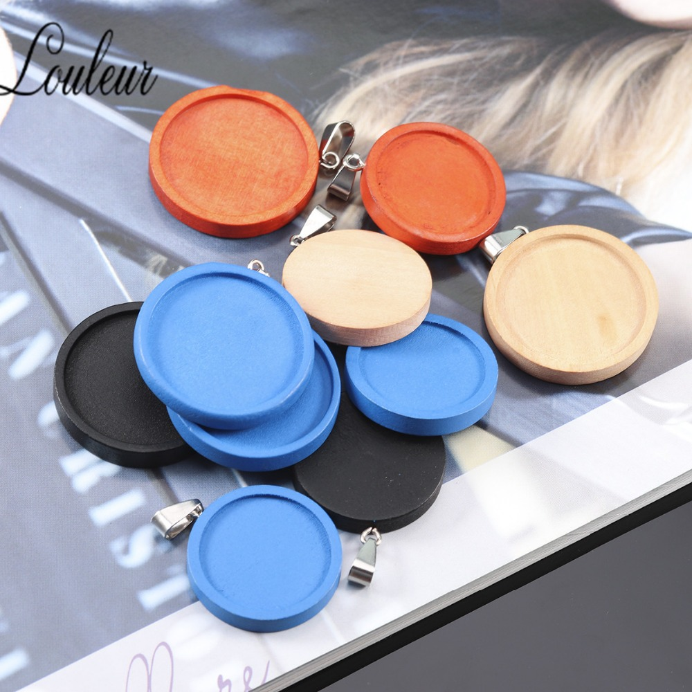 Louleur 8Pcs Blue Beige Orange Black Fit 25/30mm Round Wood Cabochon Base Blank Wooden Pendant Trays DIY Jewelry Making Necklace