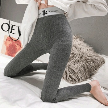 2020 new spring and autumn grey vertical bar threaded Leggings for women wearing cotton high waist Yoga big fat mm autumn pants image