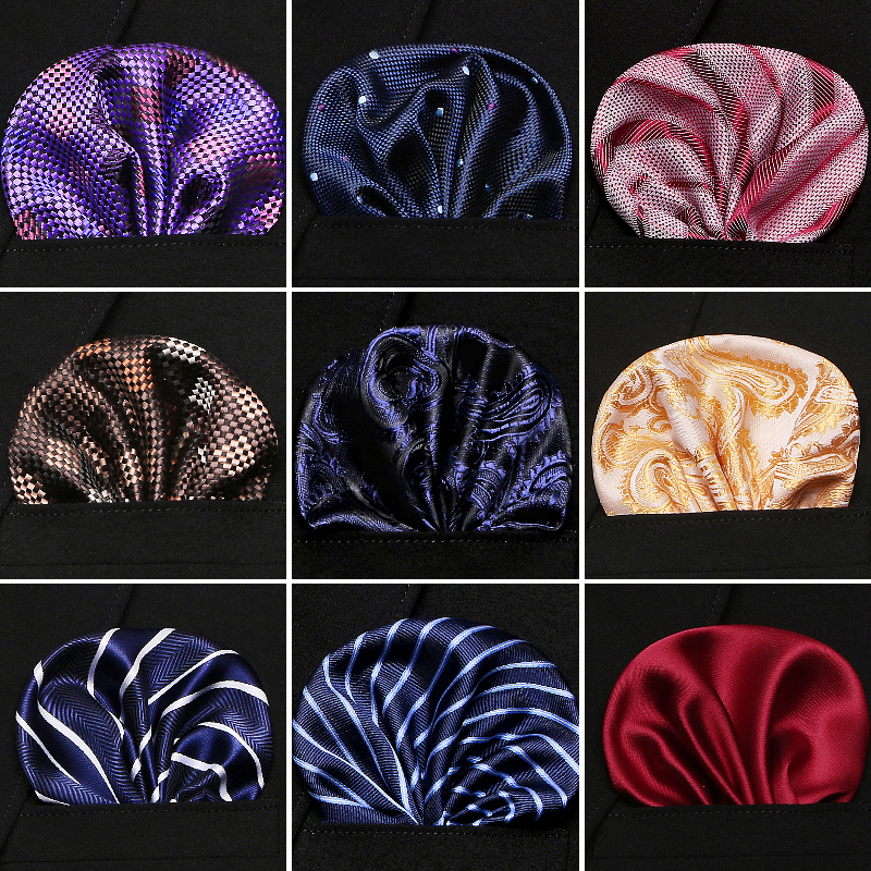 Men 100% Silk Handkerchiefs Floral Paisley Stripes Pocket Squares For Suits Jackets Wedding Party Business