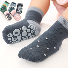 Calcetines antideslizantes con estampado de letras para bebé, calcetines infantiles para el suelo con suelas de goma, para primavera e invierno