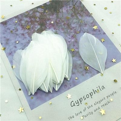 Натуральные гусиные перья 4-8 см, многоцветные белые перья, поделки своими руками, украшения для свадебной вечеринки, аксессуары, 50 шт - Цвет: white 50pcs