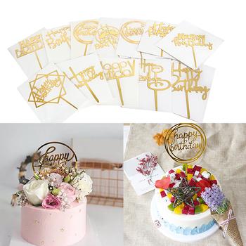 5PC Gold Flash akrylowy Topper do ciasta Topper na tort urodzinowy na Baby Shower dekoracje na imprezę urodzinową flaga do babeczek dostaw tanie i dobre opinie CN (pochodzenie) NL140 Akrylowe Chrzest chrzciny do ujawnienia płci przyjęcie urodzinowe Na Dzień Dziecka Rocznica