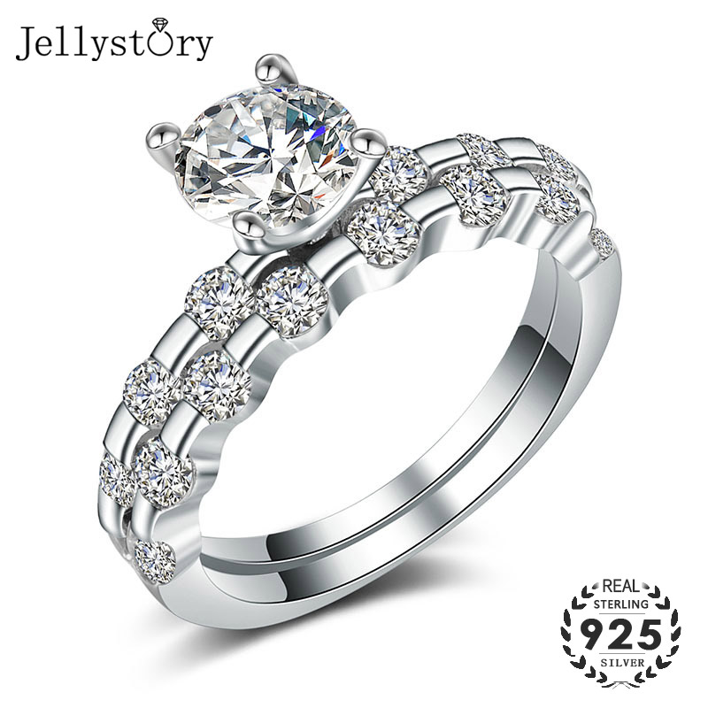 Jellystory luxury 925 sterling silver ring with AAA zircon gemstone fashion jewelry gold color ring for women men wedding party