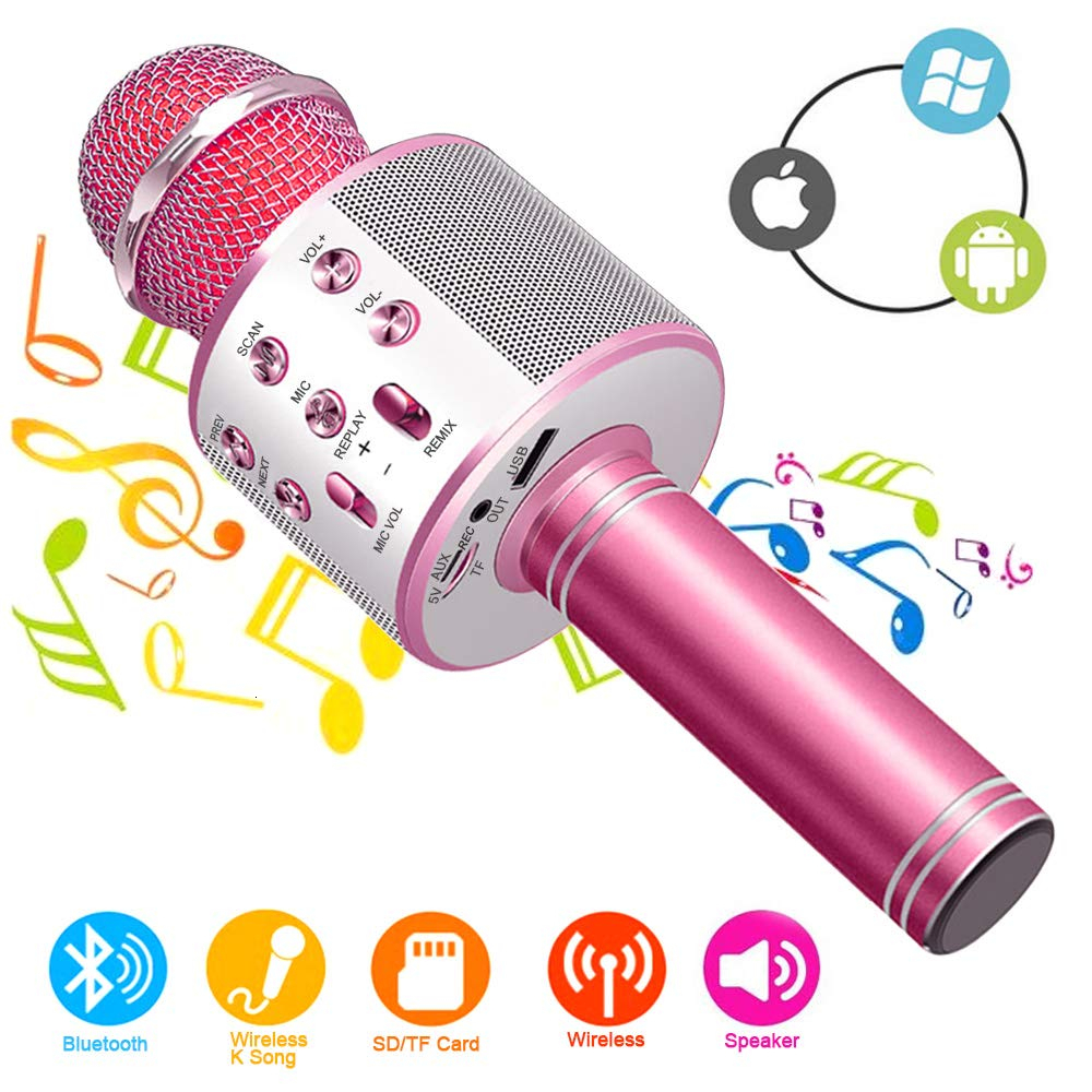Bluetooth Handheld Karaoke Speaker Player Machine for Kids Adults Home KTV Party for Android Iphone Ipad Pc Girl Boy  Blue