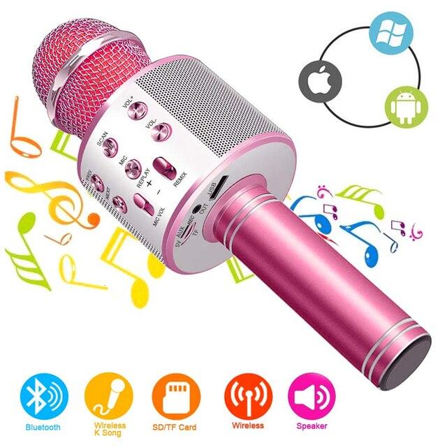 Bluetoothハンドヘルドカラオケスピーカープレーヤー機キッズ大人のためのホームktvパーティーアンドロイド/iphone/アプリ/pcガールボーイ (ブルー)