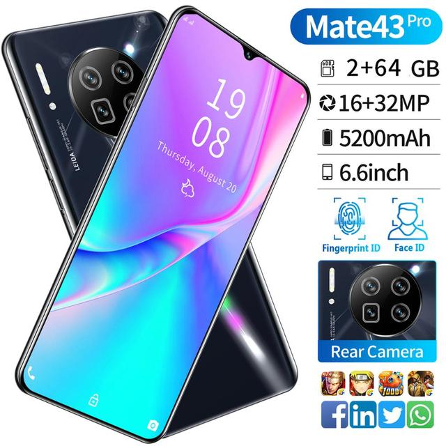 Mate43Pro Android 6.6-Inch Drip Large Screen Smart Phone Hot Bent Frosted Glass High-End Back Cover + Face Recognition