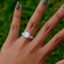 Anel de noivado de luxo clássico conjunto para mulher banhado a prata anel de casamento amante nupcial anel fingrue jóias