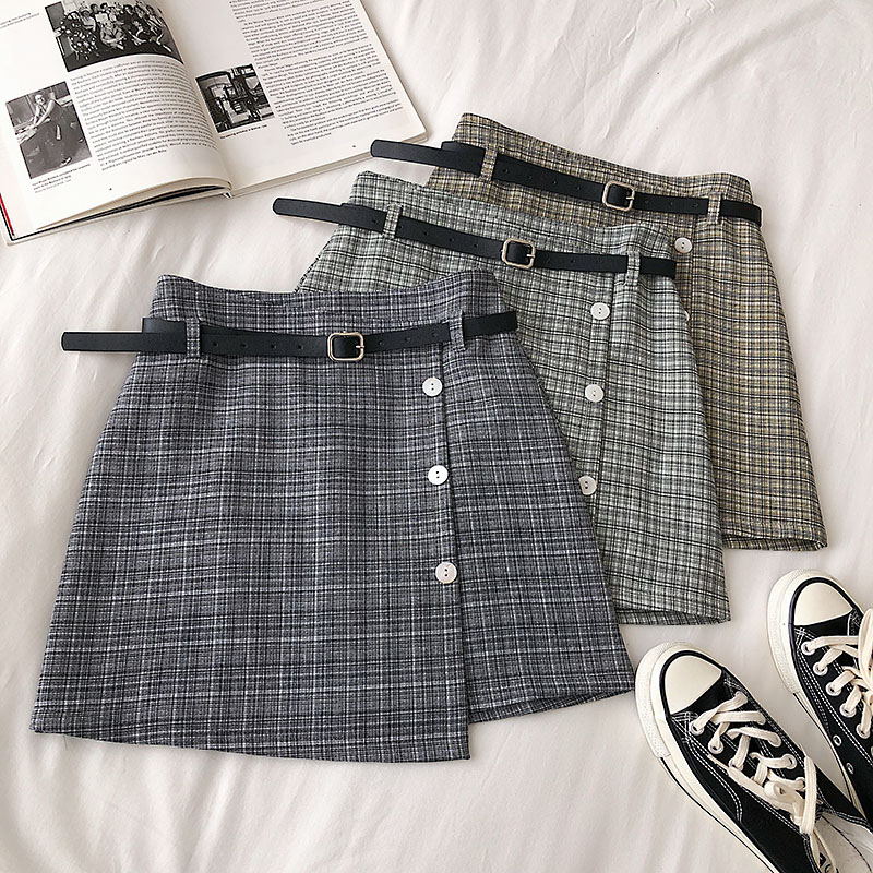 Summer Casual Women Plaid Mini Skirt With Sashes Vintage Empire A-Line Cute Skirts Korean Female Student Sweet Skirt