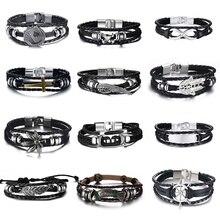Leather Bracelets Lucky Vintage Bracelet Charm Multilayer Braided Pulseira Masculina
