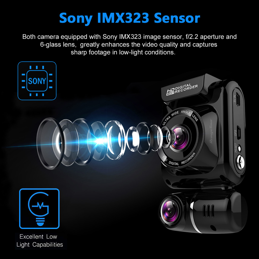 Mini escondido 4 k 2160 p carro dvr wifi gps registrador novatek 96663 chip sony imx323 sensor câmera dupla traço cam gravador - 4