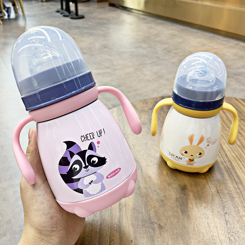330ml <font><b>Baby</b></font> Feeding Cup with nipple Stainless Steel Insulated hot water Bottle leak-<font><b>poof</b></font> thermal Cup Milk Thermos for Children image