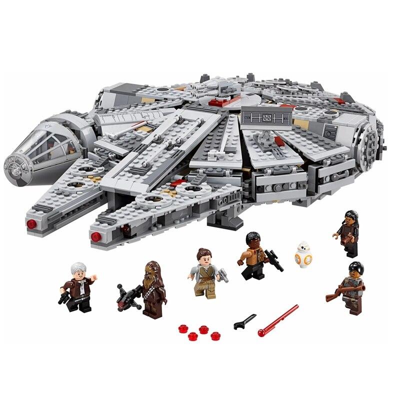 В наличии 1381 шт., строительные блоки, совместимые с лептингом, Звездные войны, Millennium 05007, сокол, космический корабль, подарок на день рождения,...