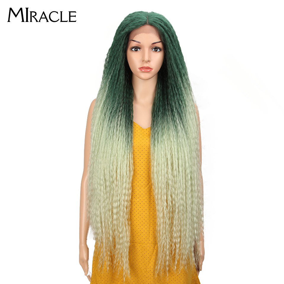 Miracle Straight Hair Weave Ombre Pink Green Wigs Long Afro Kinky Braided Wig 38inch Lace Front Wigs For Black Women Cosplay Wig